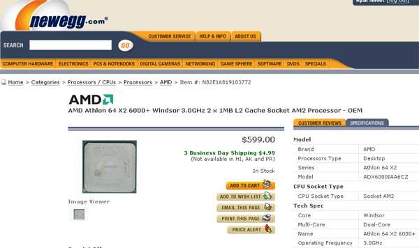Athlon 64 X2 6000+ Processor for Sale @ Newegg