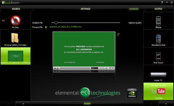 Elemental Technologies Badaboom Media Converter v1.1 Update - Graphics Cards 18