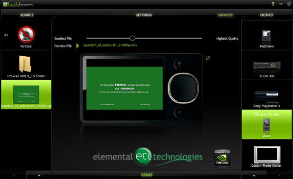 Elemental Technologies Badaboom Media Converter v1.1 Update - Graphics Cards 19