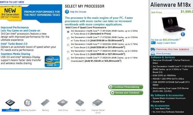 Alienware Updates Laptop Lineup With Ivy Bridge Processors
