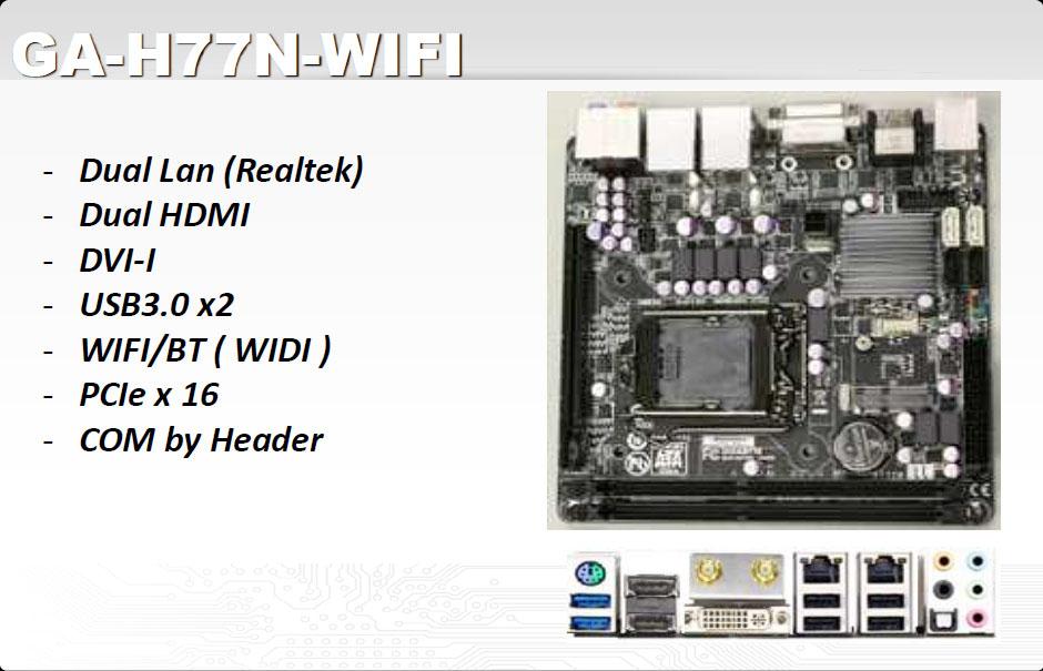 Gigabyte Unveils GA-H77N-WIFI Mini-ITX Motherboard