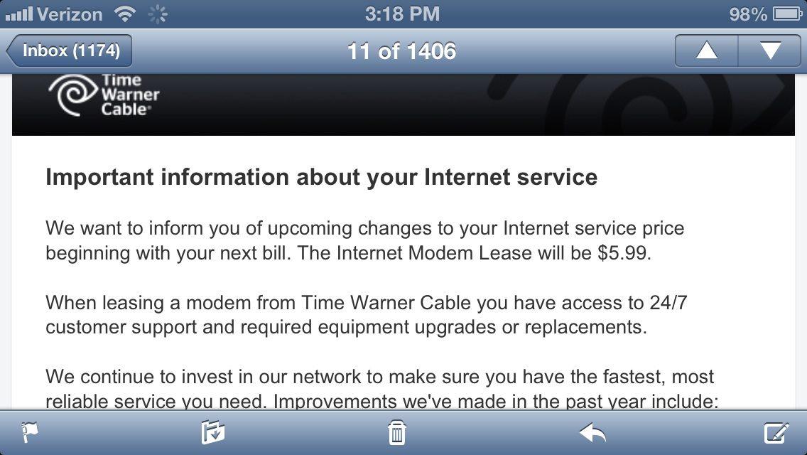 Time Warner Cable Increasing Modem Rental Fee