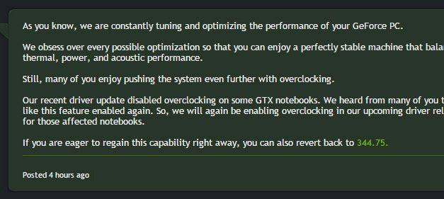 NVIDIA Recants: Overclocking Returning to Mobile GPUs