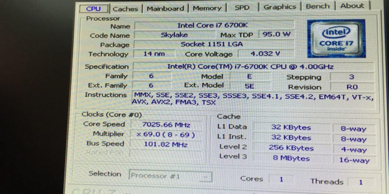 Extreme Overclocking of Skylake (7.02566 GHz)