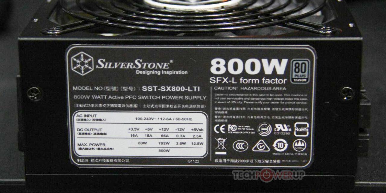SilverStone Announces SX800-LTI 800W Titanium SFX-L Power Supply