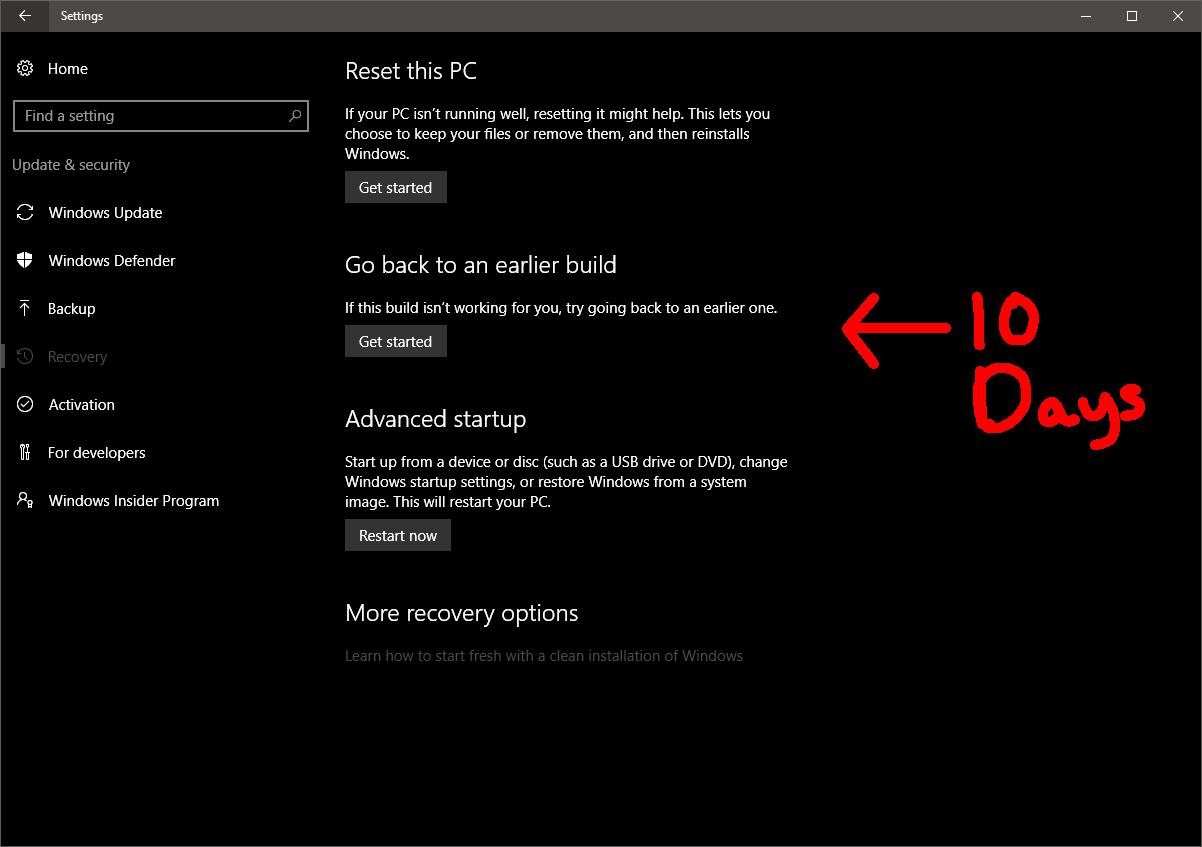Windows 10 Rollback Period Cut to 10 Days