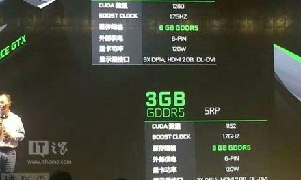 3GB Version of NVIDIA GTX 1060 Has 128 Fewer CUDA Cores