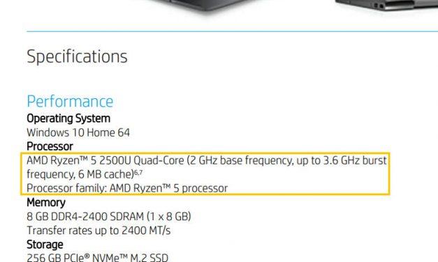 Report: Laptop Powered by AMD Ryzen APU Revealed in HP Datasheet