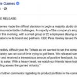 "Huge Lay-offs at Telltale Games (""Majority Studio Closure"")"