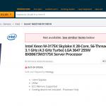 Intel's 28-Core Xeon W-3175X Processor Listed on Newegg