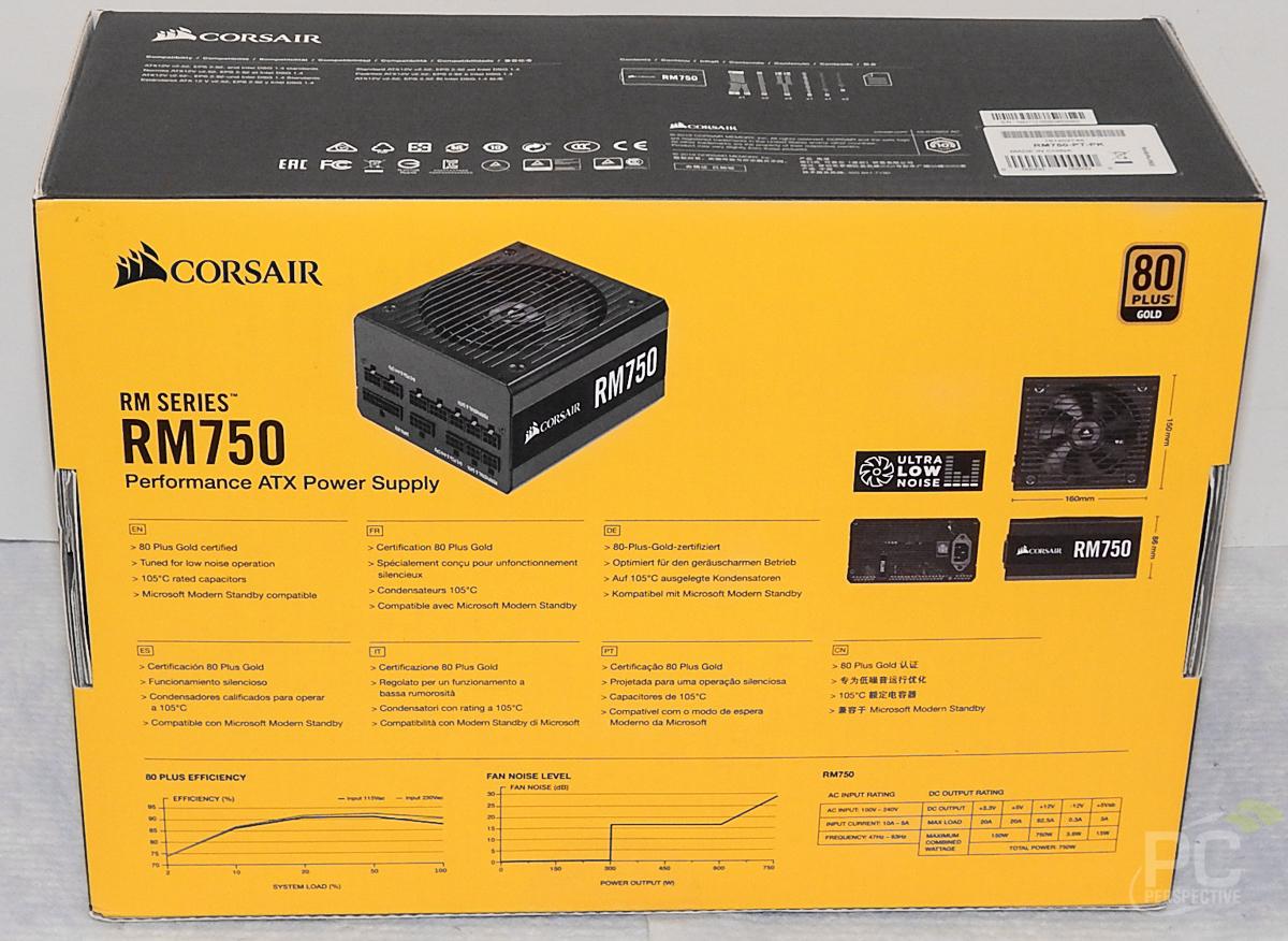 CORSAIR RM750 PSU Box Rear