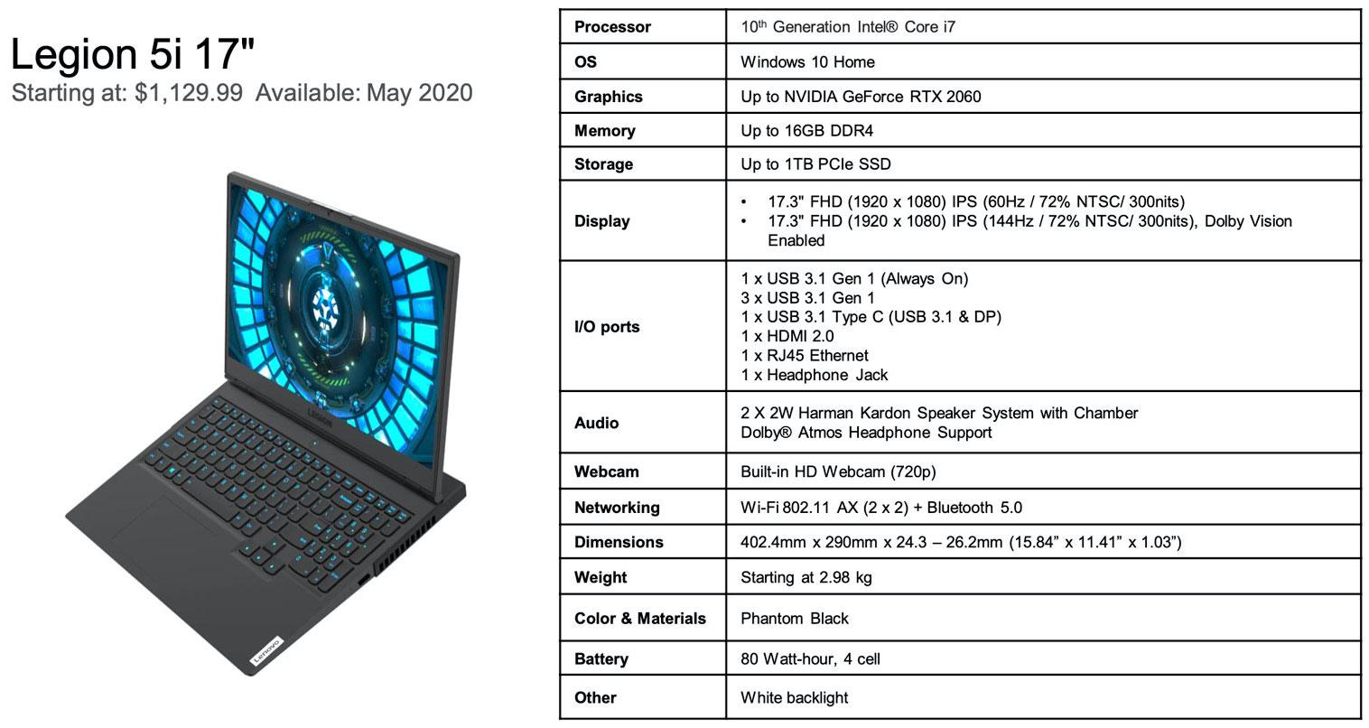 Lenovo Announces Ryzen 4000 and 10th Gen Core Legion Gaming Laptops - Systems 4