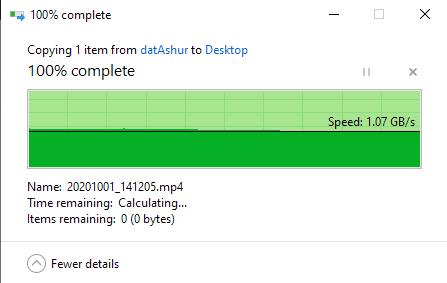 1GB-ish, USB 3.1 Gen 1