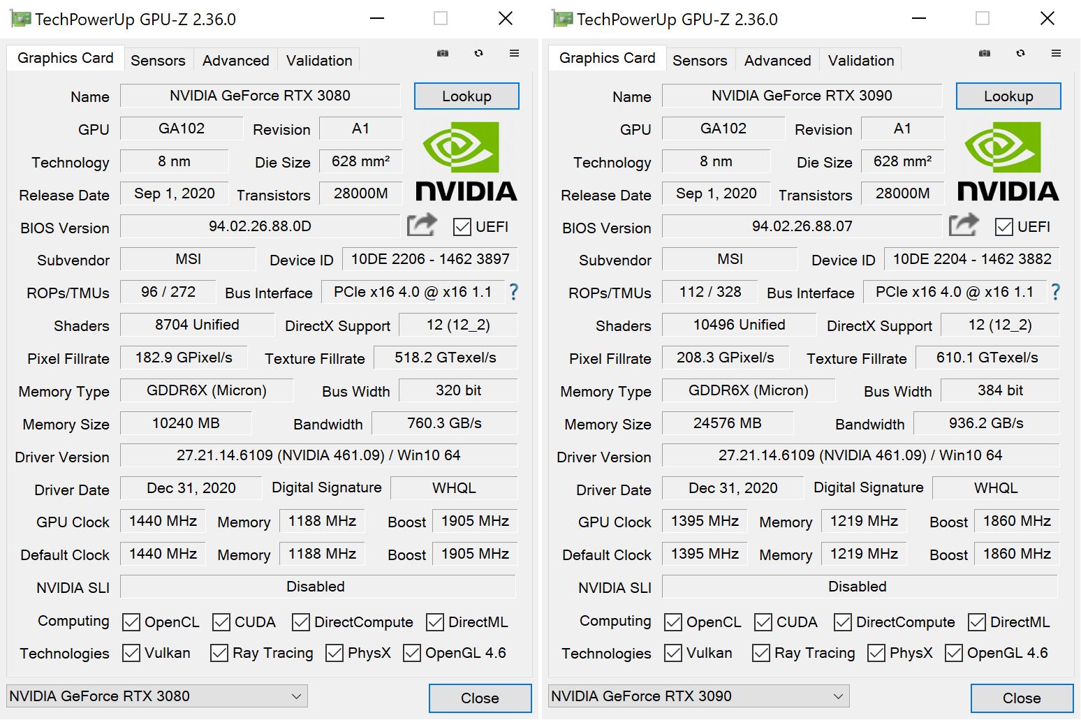 MSI GeForce RTX 3080 3090 SUPRIM GPUZ