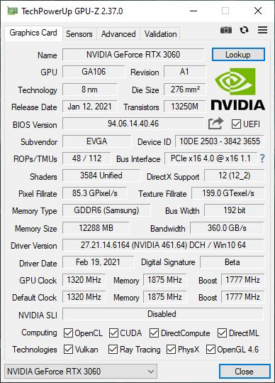 EVGA GeForce RTX 3060 XC Black GPUZ