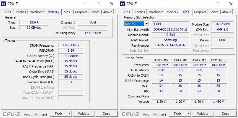 G.Skill Trident Z Neo 3600 CL14 CPU-Z Screen