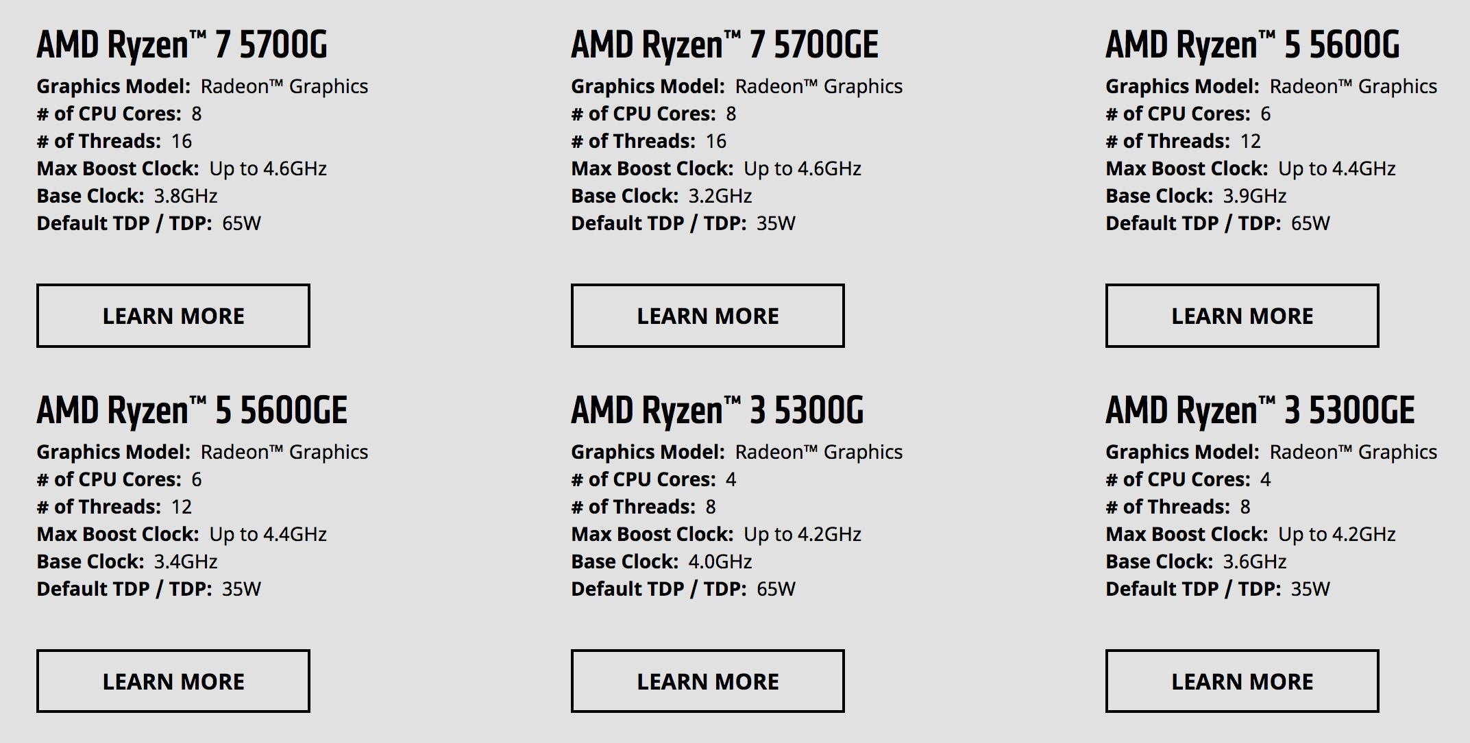 AMD Ryzen 5000 G-Series Spec Overview