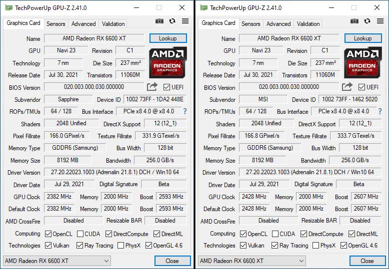 RX 6600 XT GPUZ Screenshot Comparison