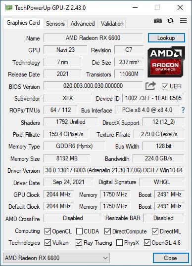 AMD Radeon RX 6600 XFX SWFT 210 GPUZ
